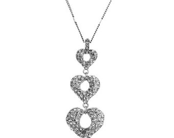Triple Love Heart Clear Crystal Dangle Pendant Necklace For Women