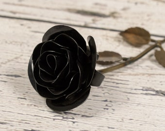 Metal Rose • Black • Iron Anniversary • 6th Anniversary • Hand Forged • Wrought Iron • Blacksmith • Personalized Gift • Valentines Day