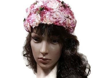 VINTAGE PINK HAT Flowered Cloche or Pillbox Hat Spring Hat Pink Flower Retro Church Hat Vintage Tea Party Pillbox Floral Summer Hat
