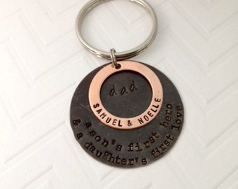 Gifts for Dad - Personalized Keychain Dad - Son's first hero Daughter's first love - Sentimental Gifts - Personalized - Father's Day
