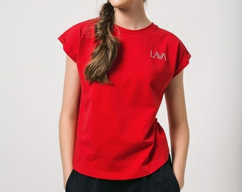 Red T-Shirt Red Tshirt Red Cotton T-Shirt Basic Red T-Shirt