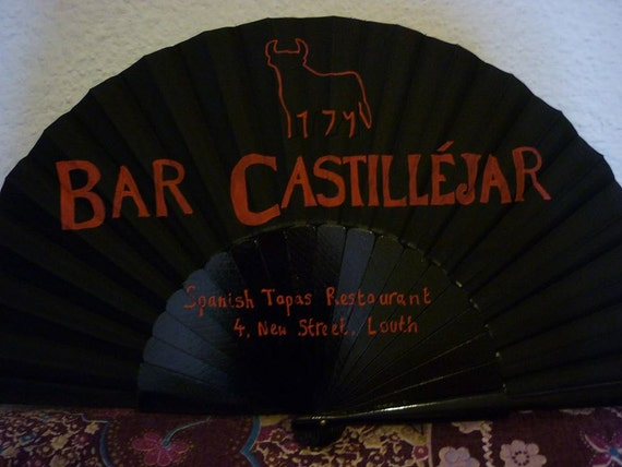MTO Your BUSINESS Logo DETAILS Onto a Supersize Hand Fan Ideal For Tapas Bar Restaurant Wall Decor Business Advertising