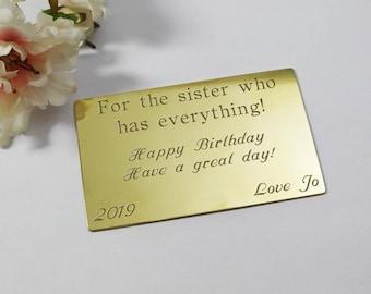 Custom engraved brass purse insert for sister gift for her gift for worlds best sister personalised gift customised brass wallet insert card