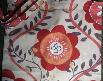 Red Retro Floral Cotton Tote Bag, Shopping Bag, Reusable Bag, Eco Friendly Bag, Flower Tote Bag, red flowers