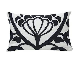 Floral Applique Pillow | Decorative Pillow Covers | Black & White Pillow | Throw Cushion Cover