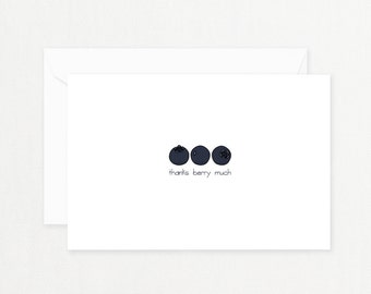 """Printable Thank You Note: """"BLUEBERRY"""" Hand Drawn Blueberries, Berry Thank You Card, Greeting Card, Postcard, Sweet, Funny Instant Download"""