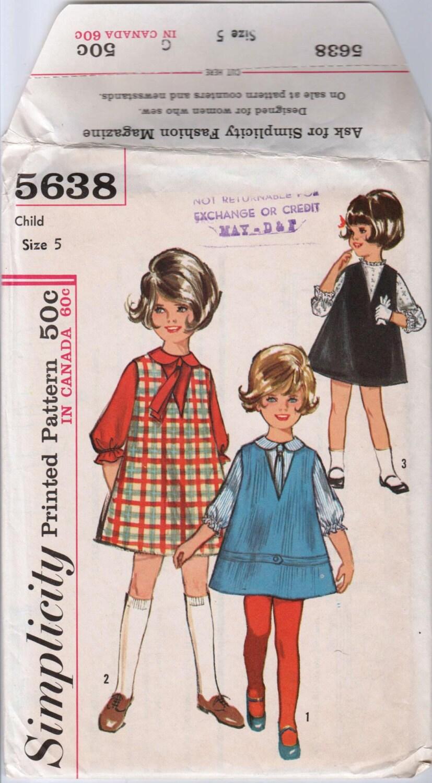 Niñas Jumper y blusa niñas años 1960 vestido simplicidad 5638 chicas ...