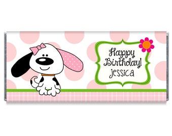 Playful Puppy Pink Birthday Party Candy Bar Wrappers - Puppy Candy Bar Wrappers - Puppy Party Favors - #IDGB209