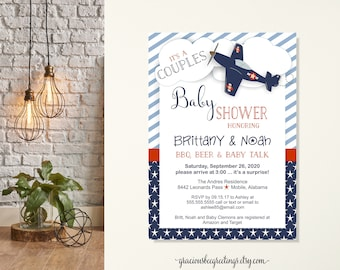 Couples Baby Shower Invitation, Baby Beer & BBQ Shower, Baby Boy Sprinkle, Airplane, Blue, Red, digital, printable
