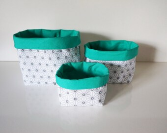 Dimensions * set of 3 baskets style Japanese cotton fabric