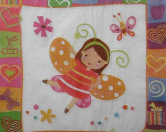 2 paper napkins girl Butterfly (358)