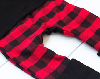 Cloth Diaper Pants. Maxaloones. Red and Black Buffalo Plaid. Black Coordinate. Miniloones. Grow With Me Pants.