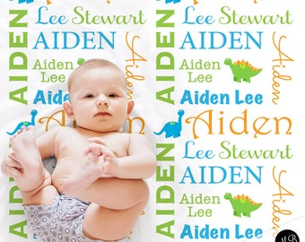 Personalized Dinosaur Blanket for Baby Boy, personalized name baby gift, blanket, baby blanket, personalized blanket, choose colors