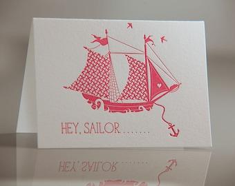 Hey Sailor Card - Pink Sailor Card - Nautical Love Card - Sailboat Card - Hey Sailor Letterpress Card