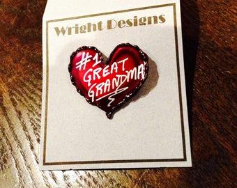 My #1 Great Grandma red heart brooch