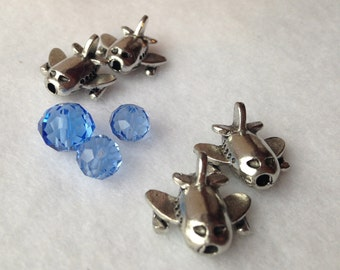Four (4) Silver Airplane Beads