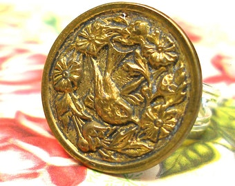 Lil Bird Antique BUTTON ring, Victorian button on sterling silver adjustable band. One of a kind jewellery.