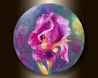 Original Textured Palette Knife Iris Irises Oil Painting Contemporary Floral Modern Art 8-Inch Round Canvas by Willson