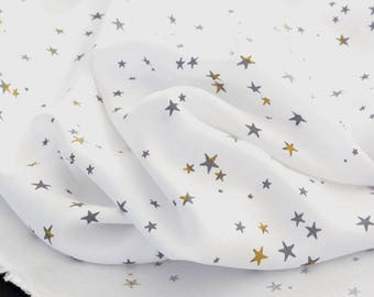 Silky flowing viscose fabric stars mustard White x 50cm