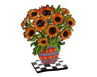 Wooden Sunflowers, Flowers, Wooden, Statue, Laser Cut, Sunflower sculpture, Sunflower decor, Wooden vase, Sunflower Art, Flowers art, Vases