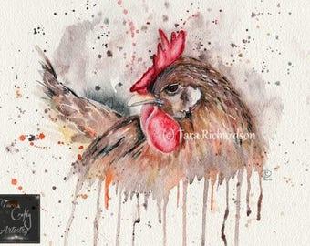 Henrietta Hen Art Print, chicken, watercolour, painting