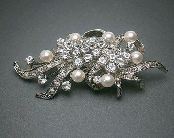 Crystal Brooch Vintage Glamour Ribbon Flower Brooch With White Pearls Cystals And Rhinestones