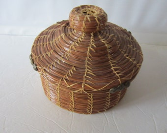 SALE..pine needle covered basket...handmade basket..baskets