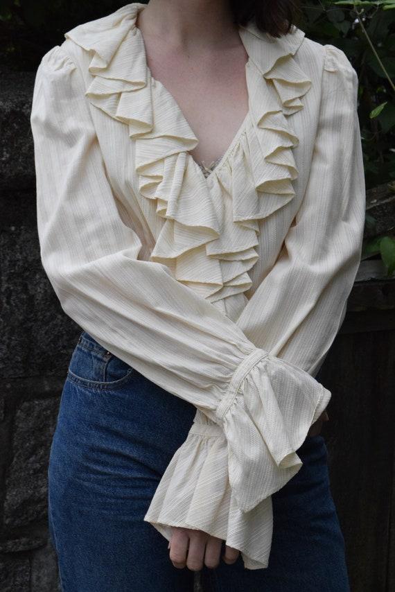 Ralph Lauren Cream Cotton Ruffle Shirt