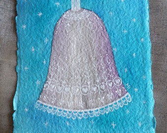 Lacey Silver Bell - Small, Original Watercolour Painting