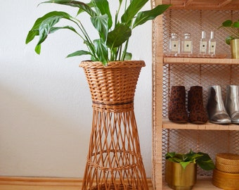 Tall rattan plant stand plant stand 70s wicker Boho Vintage home Decor
