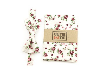 Floral Bow Tie Pocket Square Set White Bow Tie Mens Bow Tie Gromsmen Bow Tie