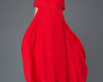 Plus size clothing, Linen Dress, linen dress for woman, red dress, maxi dress, plus size linen, red dress woman, causal dress C901