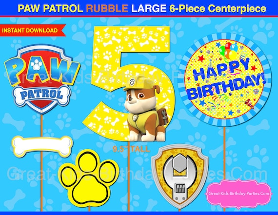 Paw Patrol Centerpiece Number 5 Rubble Paw Patrol Printable