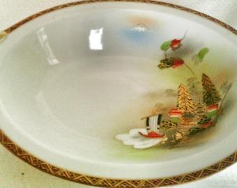 "Vintage Large Mid Century Gold trimmed ""Kutani"" Serving Bowl"