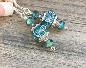 Blue Japanese lantern earrings, stainless steel and blue earrings