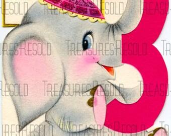 Happy Birthday 3 Year Old Elephant Card #119 Digital Download