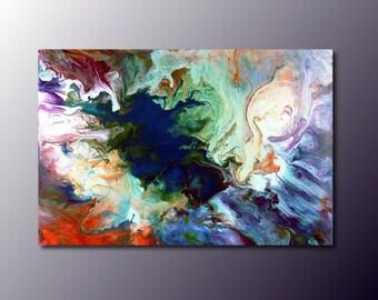 Art Print: Icemelt; abstract fluid art acrylic pour painting; wall art print; wall decor