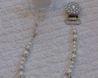 Elegant Pearl Beaded Rhinestone Pacifier Clip
