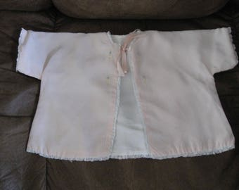 Vintage 1940's/50's Pink Baby Bed Jacket.So cute.Great for the special baby girl ,Reborn Doll,Antique Doll,Photo Prop or the avid collector.
