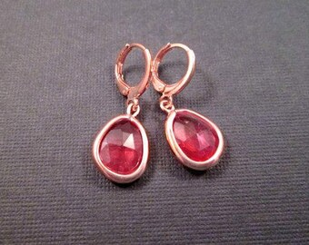 Bezel Earrings, Apricot Pink and Rose Gold, Copper Dangle Earrings, FREE Shipping U.S.