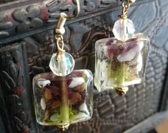 Colorful lamp work earrings