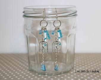 Bird cage earrings blue