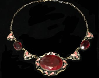 1920s Art Deco Czech Glass Necklace - Red Faceted Centerpiece & Shell Pink Enamel Accents - Mint Condition