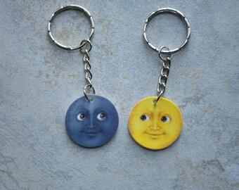 Moon Emoji Keychain Set