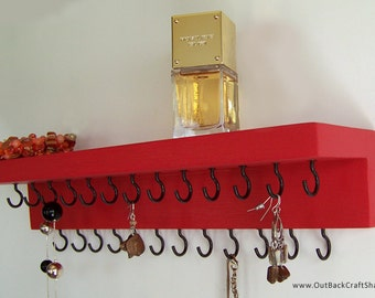"Jewelry Holder for Necklaces and Earrings; 14"" long with shelf - Red with 25 Black Hooks; Other colors available too!"