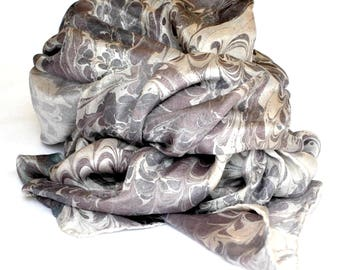 Hand Painted Silk Satin Scarf with Marbling Colors of Royal Lilac, Purple and Sharkskin Extra Large Made in Asheville, NC MM-#10-17