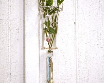 Sale was 84 now 48 ! (limited time) Hanging Bud Vase - One of a Kind Delight- Mixed media Assemblage work-