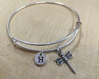 Dragonfly charm bracelet - dragonfly bangle, silver dragonfly jewelry, insect jewelry, damselfly bracelet, bug charm bracelet