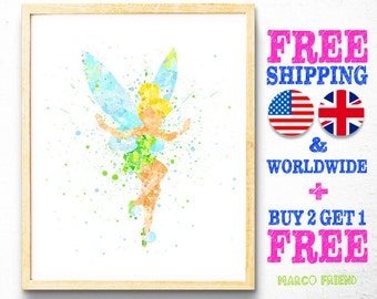 Disney TinkerBell Peter Pan Tinker Bell Wall Art Watercolor Art Poster Print Home Decor Kids Decor Nursery decor [49]