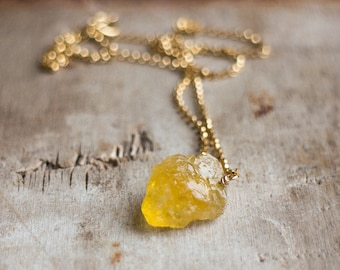Heliodor Necklace, Gift for Him, Gift for Her, Raw Crystal Necklace, Golden Beryl Necklace, Yellow Beryl Necklace, Heliodor Jewelry